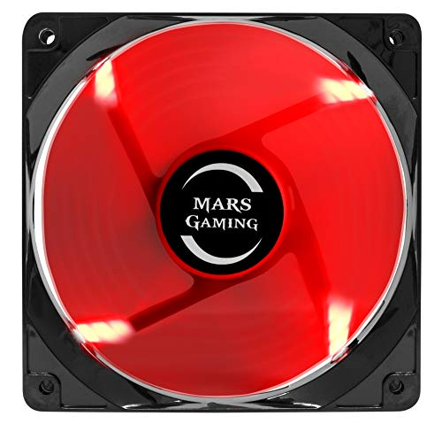 Mars Gaming MF12, Ventilador para Caja PC Gaming, Iluminación LED, Negro/ Rojo
