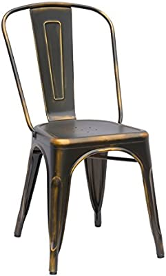 Amazon.com: GIA AY55C_PU_2 Metal Dining Chair with Leather seat, 2 ...