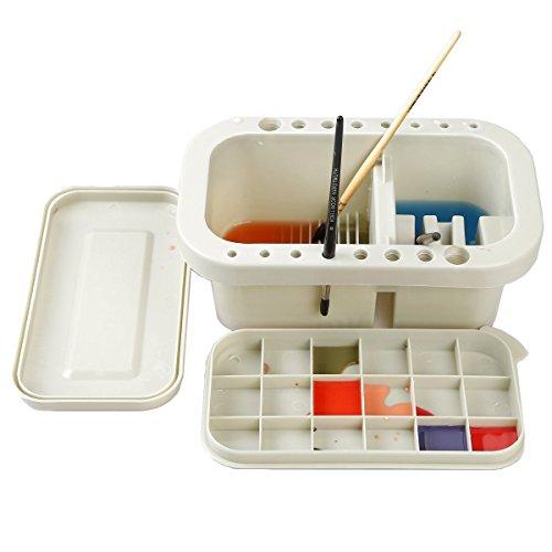 Watercolor - Cepillo de pintura para lavado de lavabo, diseñado para remojar pinceles en solución, forma de pinceles y sujetar cepillos equipado con palet de mezcla