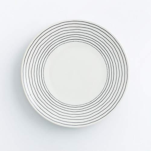 CJW Assiette creuse domestique en céramique - personnalité simple style nordique 20 cm (Color : Black)