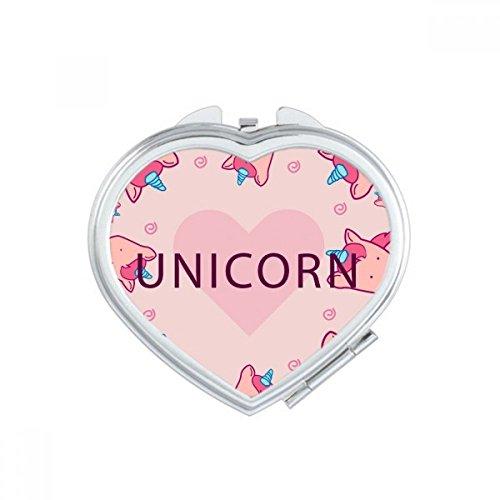 DIYthinker Coeur Rose Belle Licornes Motif Coeur Miroir de Maquillage Compact Portable Cute Cadeau Miroirs de Poche à la Main Multicolore