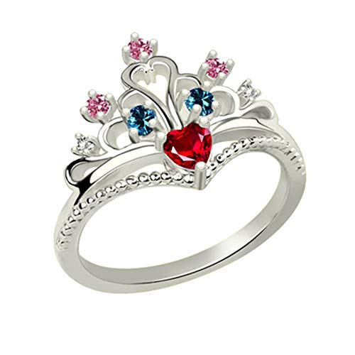 Anillo de promesa personalizado Anillo de plata de ley 925 Anillo de corona Anillo de piedra natal Regalo de cumpleaños para mujer(Plata 19)