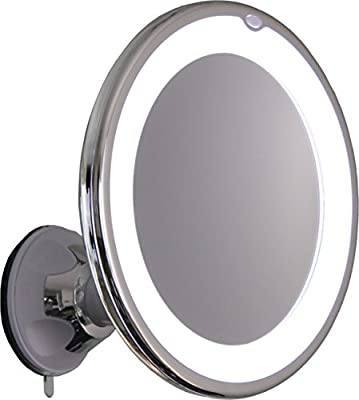Round Lighted Makeup Mirror With Locking Suction Mount And Ball Joint Swivel
