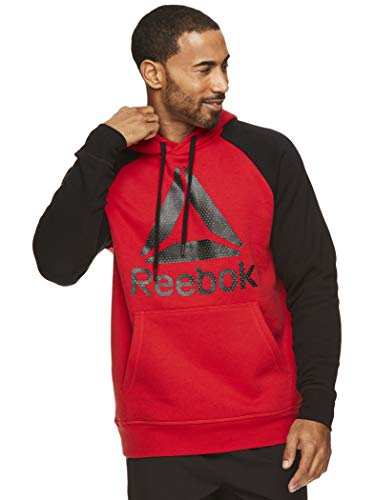 Reebok Men's Performance Pullover Hoodie Sweatshirt - Graphic Hooded Activewear Sweater with Front Pocket - Pyramid Camo Racing Red, Medium