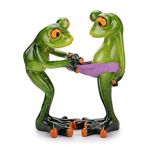JuxYes Creative Craft Resin Frog Figurine Decor  Novelty Funny Frog Sculpture Statue  Personalized Animal Collectible Figurines Mascot Frog for Shelves Table Desk Decor Collectible Figurines