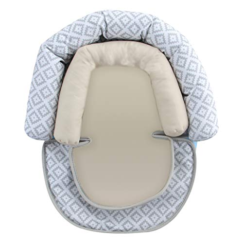 vocheer Baby Stroller Cushion, 2-in-1 Infant Car Seat Neck Support Cushion with Liner Head and Body Support Pillow for Baby 0-12 Months, Grey