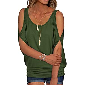 Women's Short Sleeve Cold Shoulder Loose Fit Pullover Casual Top