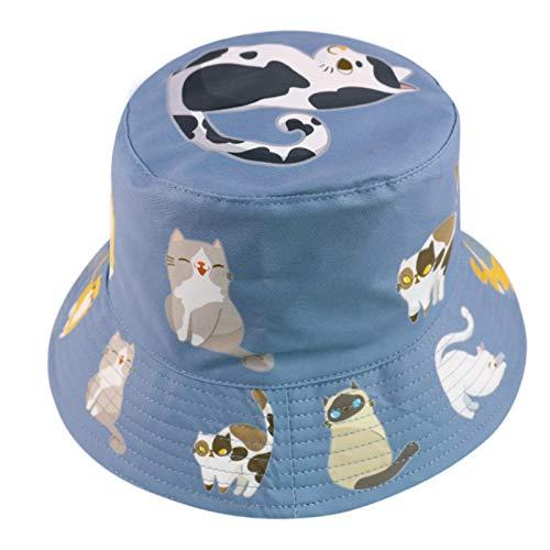 MTBDLYQ Chapeau De Pêcheur Femme,Unisex Double-Side Fisherman Hat Cute Animal Cat Print Blue Foldable Bucket Cap, for Men Women Travel Randonnée Casual Hat Adult Flat Sun Hat