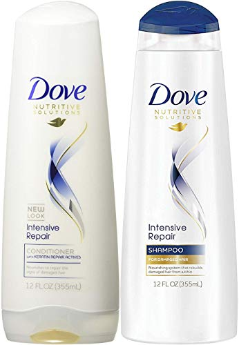 (Duo Set) Dove Damage Therapy Intensive Repair, Shampoo & Conditioner, 12 Oz. bottles