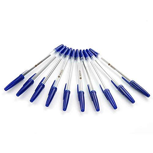 SIDCO Kugelschreiber 100 Stück Schreiber Kuli blau + Schutzkappe Blaue Kulis mit Mine
