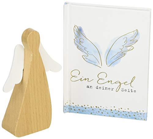 Geschenktäschchen - Ein Engel an deiner Seite: Tasche mit Holzengel und Büchlein