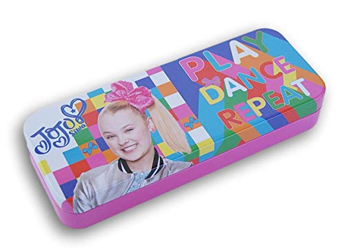 JoJo Siwa Metal Tin Pencil Case Pencil Case, Marker Case, Crayon Case, Back to School Shopping for Students (1 Per Order) (Play Dance Repeat)