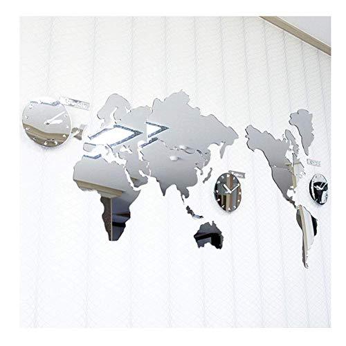 NBVCX Home Life Wall Clock 3D DIY Kit Mirror Acrylic Silver World Map Large Sticker Modern Decorative Non Ticking Living Room Decor Silent Battery Operated Quartz Clock