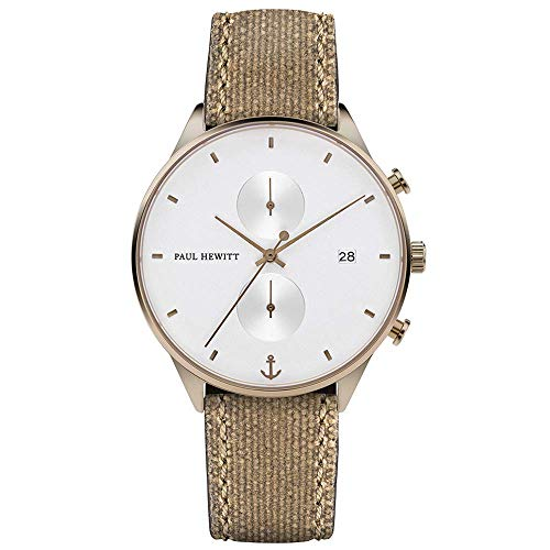 PAUL HEWITT Cronografo uomo Chrono Line White Sand, Cronografo uomo acciaio (bronzo), Orologio da polso uomo con cronometro e cinturino in tessuto (beige), quadrante bianco