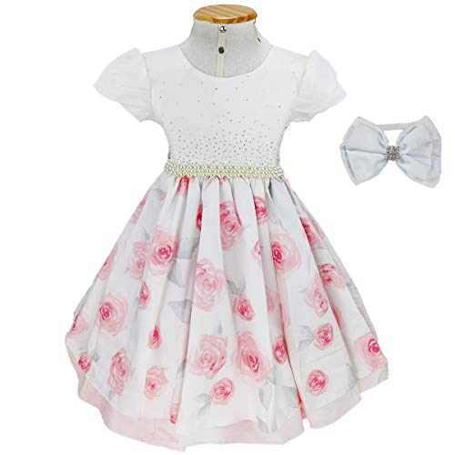 Vestido Bege Estampa de Rosa Infantil Luxo C/Tiara M 7-8