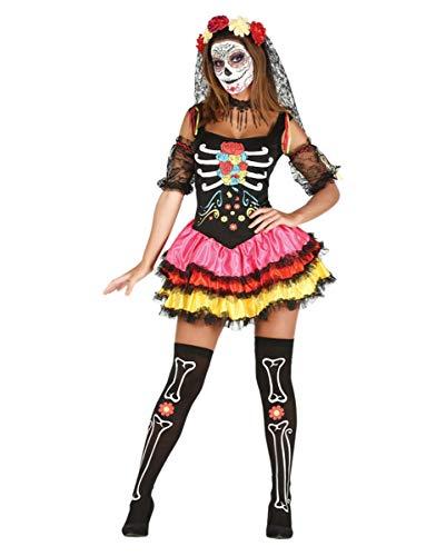 Day of The Dead Kostüm mit Haarreif und Armstulpen für Deinen Auftritt am Tag der Toten XS-S