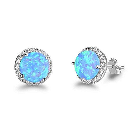 Ctzrzyt Pendiente de plata de ley Pendiente de piedra de opalo azul Oceano Joyeria de moda