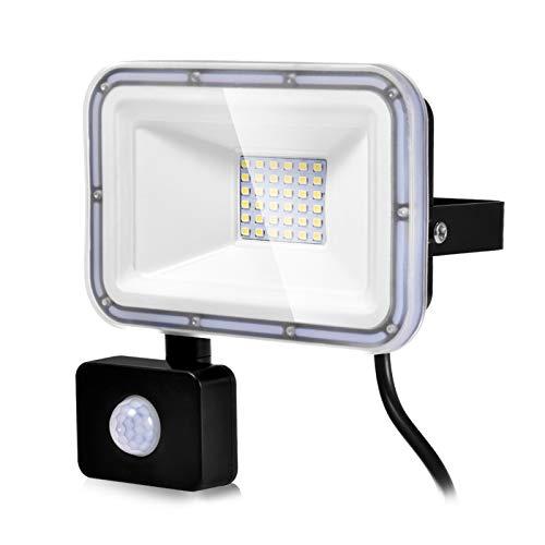 30W Faretto LED da Esterno con Sensore di Movimento, Impermeabile IP67 2400LM Bianco Freddo 6500K Illuminazione Faretti LED per Giardino Corridoio Cortile Patio [Classe di efficienza energetica A+]