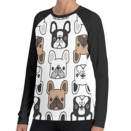Ladion Womens T-Shirt French Bulldog (2) Long SleeveTee Soft Women's Long Sleeve T Casual Tank Tops T-Shirts Black