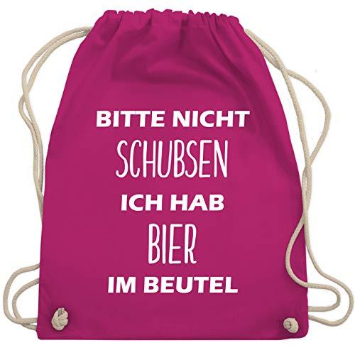 Shirtracer Festival Turnbeutel - Bitte nicht schubsen ich hab Bier im Beutel - Unisize - Fuchsia - beutel bitte nicht schubsen - WM110 - Turnbeutel und Stoffbeutel aus Baumwolle