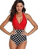 FeelinGirl Damen Badeanzüge Push Up Druck Bikini Set Bauchweg Monokinis