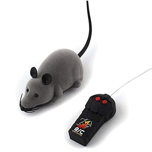 Wenasi Electronic Remote Control Rat RC Plush Rat Toy for Cat Dog Kid (Gray)