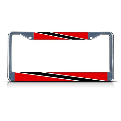 Trinidad en Tobago Vlag Heavy Metal License Plate Frame Tag Border Twee Gaten Perfect voor Mannen Vrouwen Auto garadge Decor
