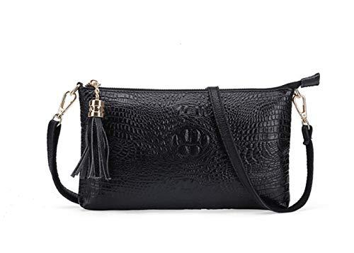 TEYUN - Bolso de hombro para mujer, diseño de cocodrilo, diagonal, pequeño, cuadrado, color negro