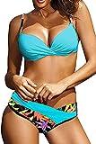 Voqeen Conjunto de Bikini Push Up Traje De Baño Mujer Sexy Bañador de Baño Sujetador Acolchado Bikini para Mujeres Ropa de Dos Piezas (Verde, XL)