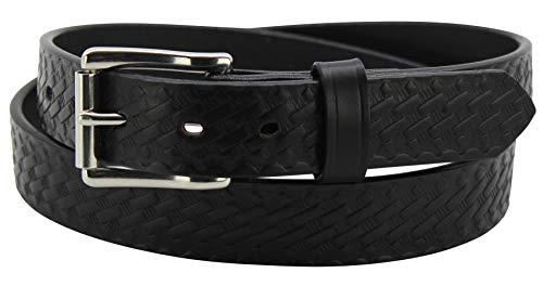"""Men's Black Leather Belt – Heavy Duty Basket Weave Belts - 1.25"""" Wide, 40 Inches"""