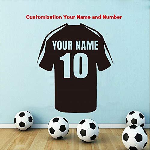 Kamer Muurstickers Quotes Voetbal Pak aanpassen Naam Muurstickers Sportkleding Sticker 15.6x15.6 inches