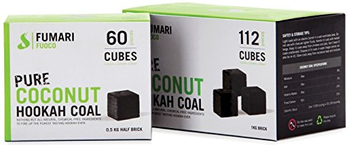 FUMARI Fuoco Pure Coconut Charcoal Supplies for HOOKAHS-112pc Non Quick Light Shisha coals for Hookah Pipes. All Natural Coal Accessories & Parts That are Tasteless, Odorless, Chemical Free (112)
