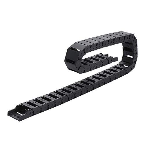 UKCOCO 15 x 30 mm plástico Towline Cable Wire Carrier Flexible anidado Semi cerrado cadena de arrastre para herramientas CNC (Negro, 1M)
