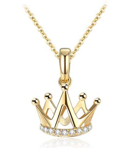 XIAOMING Collar Colgante De Diamantes Collar De Diamantes Hembra 18K Clavícula Cadena Mujer Genuino Pequeña Corona B