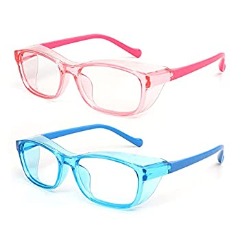 Outray 2 Pack Kids Anti Fog Safety Glasses with Side Shield & Blue Light Blocking Lens Protective Goggles Age 3-7