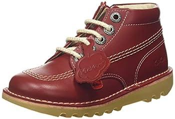 Kickers Kick Hi Zip I Red Leather 11 US Child