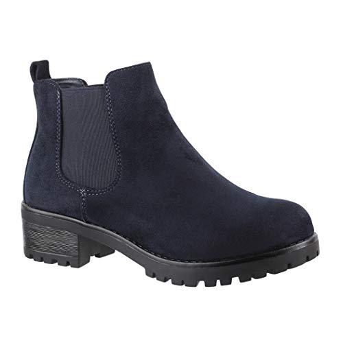 Elara Chelsea Boots | Bequeme Damen Stiefeletten | Profilsohle Blockabsatz, 36 EU, Navy