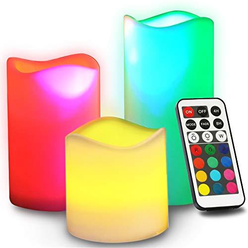 Novelty Place Bougie sans flamme avec télécommande, [véritable scintillement et vraie couleur ivoire] Piliers LED à piles avec télécommande et fonction minuterie – 12 couleurs prédéfinies
