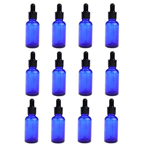 LOVIVER Lot de 12 Flacons Compte-Gouttes de 30ml Flacon de Pipette Liquide en Verre Teinté - Bleu
