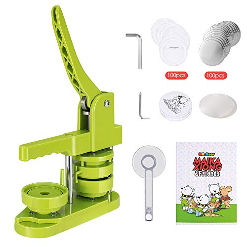 KKTECT Button Badge Maker Machine 58mm 2.25 Inch DIY Pin Button Maker Punch Press with 100 Pcs Button Parts, 100Pcs Pictures and Circle Cutter (Green)