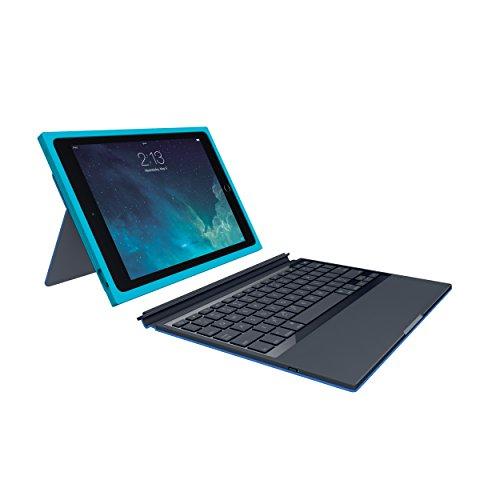 Logitech Blok Schutzhülle (für Apple iPad Air 2, integrierter QWERTZ Tastatur) knickenten/blau