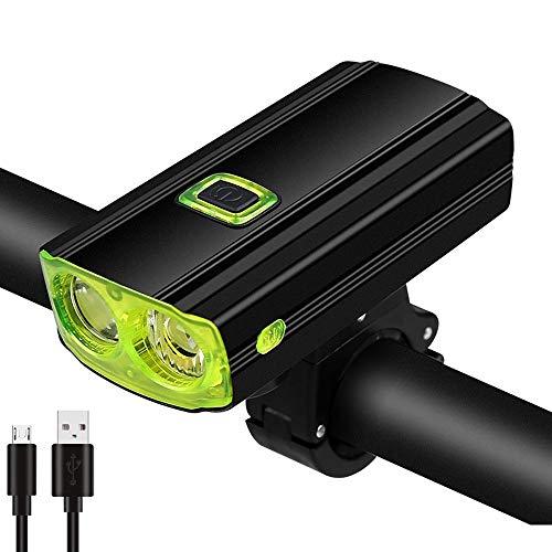 Guangmaoxin Fahrradlicht, USB, wiederaufladbar, LED-Scheinwerfer, Fahrradlampe, wasserdicht, mit Hupe und USB-Kabel