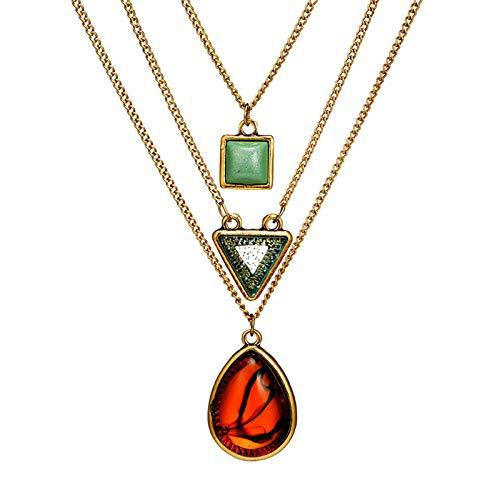 Aienid Collar Múltiples Forma Geométrica Collar De 3 Capas Oro Collar para Mujeres Longitud:62 CM