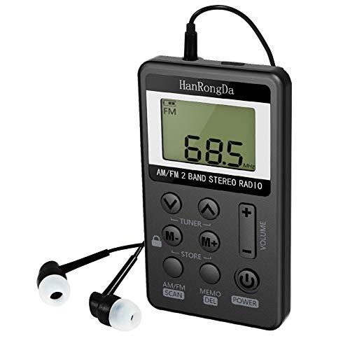 Radio De Bolsillo Am FM de Estéreo Digital Tuning con Pantalla LCD Recargable Mini Radio De Bolsillo Pocket para Correr Senderismo Caminar con Auriculares