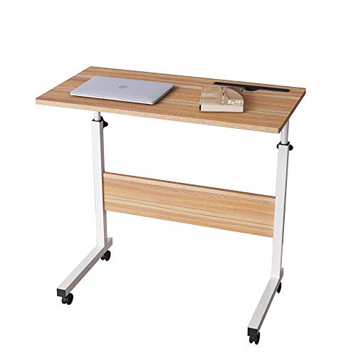 SogesHome 80 x 40 cm Mobile Lap Table With Card slot Computer desk Stand desk Height adjustable table Side table for Bed Sofa Hospital Nursing Reading Eating, Oak, 05#3-80OK-SH