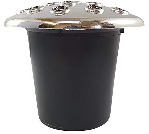 INERRA Grave Vaas Inserts - Zwart met Zilver Kunststof Deksel Black with silver lid