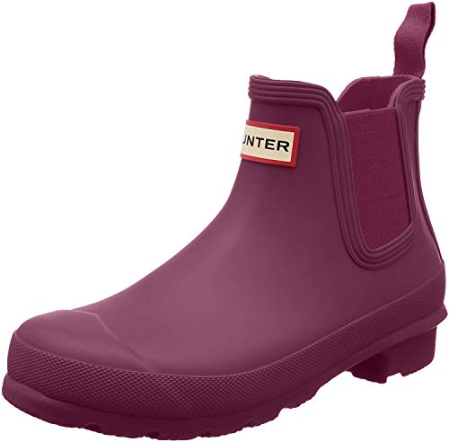 HUNTER Womens Original Chelsea Festival Rain Snow Waterproof Ankle Boots - Violet - 11