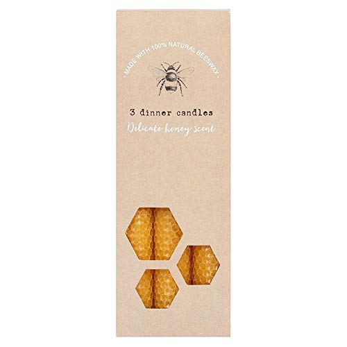 something different Set of 3 100% Natural Beeswax Dinner Candles from