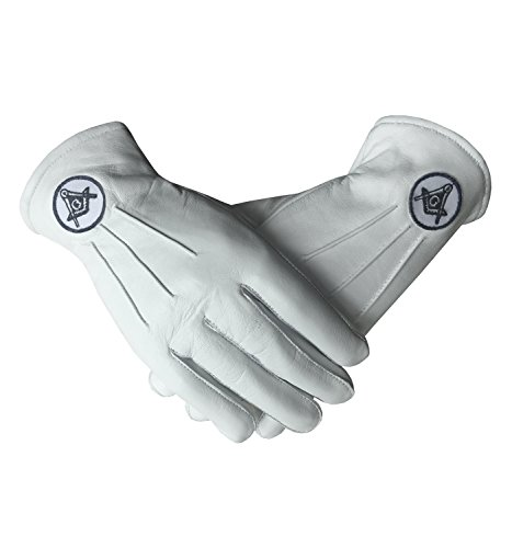 Masonic Regalia White Soft Leather Gloves with Square Compass and G (Small)