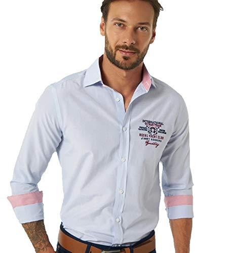 JIMMY SANDERS Camicia Collo Kent Manica Lunga Camicia Rigata Uomo Regular Fit Kosta Azzurro/Bianco, Dimensione:M